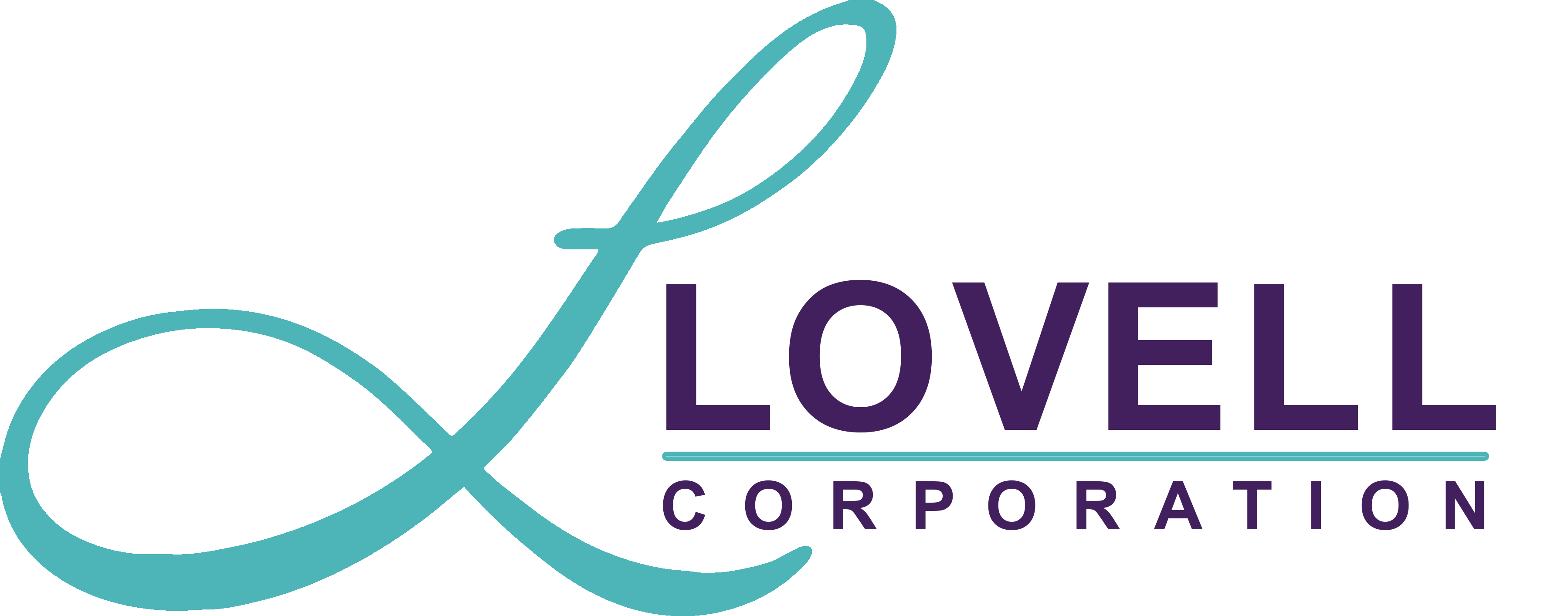 Lovell Corporation Logo (teal L with purple text)