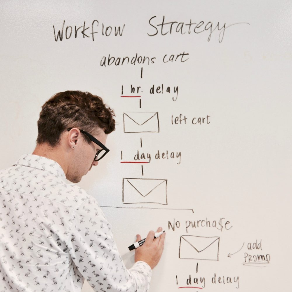 man working on a strategy workflow board