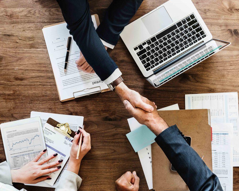 corporate meeting and handshake